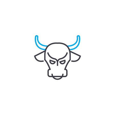 Bull market vector thin line stroke icon. Bull market outline illustration, linear sign, symbol isolated concept. Фото со стока - 101247077