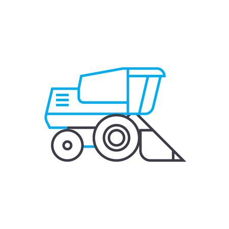 Bulldozer vector thin line stroke icon. Bulldozer outline illustration, linear sign, symbol isolated concept.