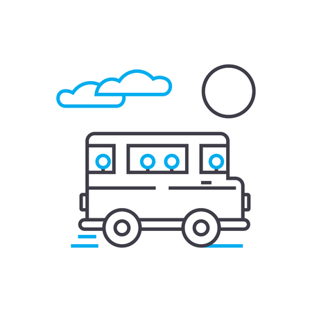 Bus transportation vector thin line stroke icon. Bus transportation outline illustration, linear sign, symbol isolated concept. Ilustração