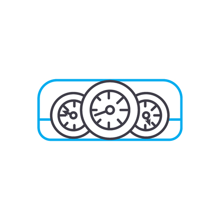Car dashboard vector thin line stroke icon. Car dashboard outline illustration, linear sign, symbol isolated concept.