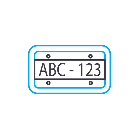 Car plate vector thin line stroke icon. Car plate outline illustration, linear sign, symbol isolated concept.