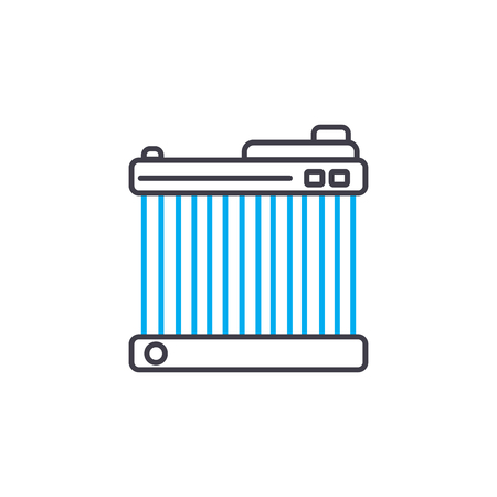 Car radiator vector thin line stroke icon. Car radiator outline illustration, linear sign, symbol isolated concept.