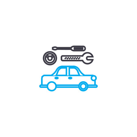 Car repair service vector thin line stroke icon. Car repair service outline illustration, linear sign, symbol isolated concept. Stock Illustratie