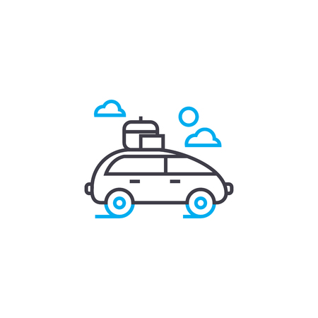 Car with roof rack vector thin line stroke icon Car with roof rack outline illustration, linear sign, symbol isolated concept. Archivio Fotografico - 101247194