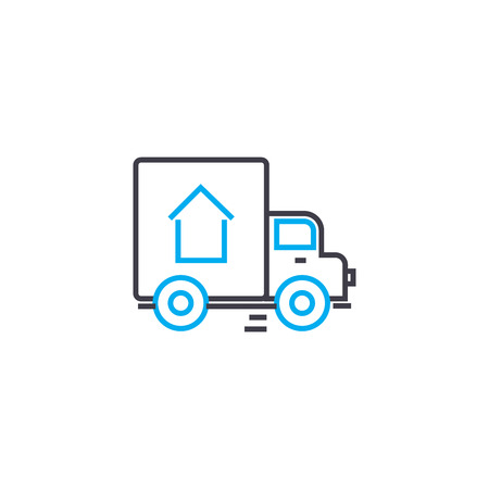 Cargo delivery vector thin line stroke icon. Illustration