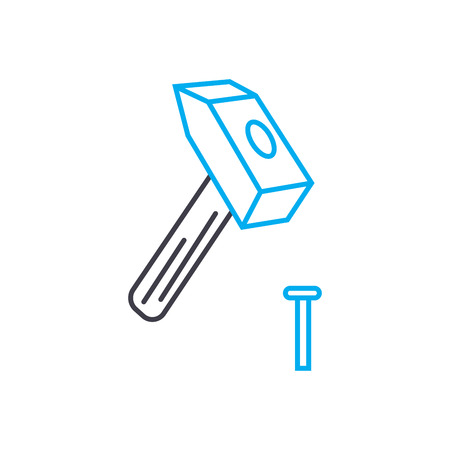 Carpentry work vector thin line stroke icon Carpentry work outline illustration, linear sign, symbol isolated concept.