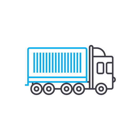 Container shipping vector thin line stroke icon Container shipping outline illustration, linear sign, symbol isolated concept.