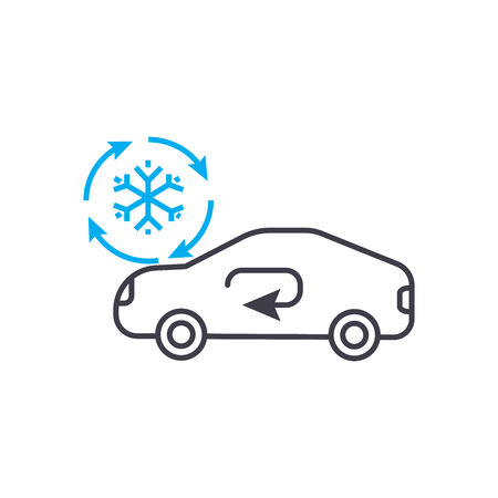 Cooling car system vector thin line stroke icon.