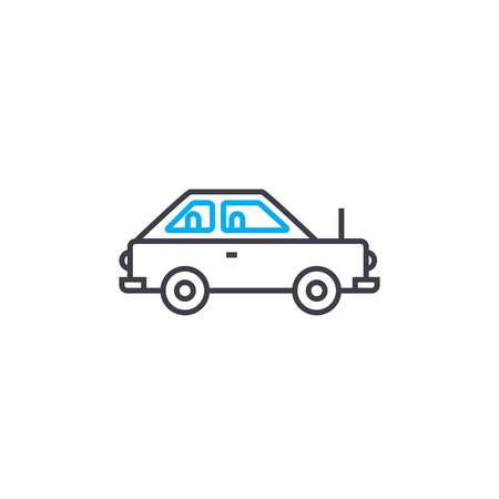 Coupe car outline illustration, linear sign, symbol isolated concept.