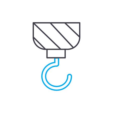 Crane hook outline illustration, linear sign, symbol isolated concept. Illustration