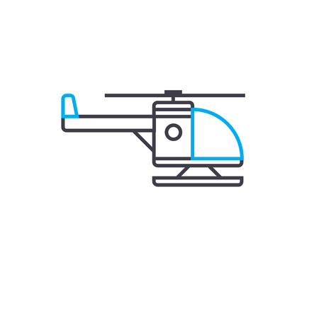Chopper with skid vector thin line stroke icon.