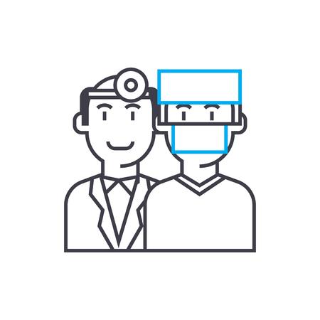 Critical illness insurance vector thin line stroke icon.