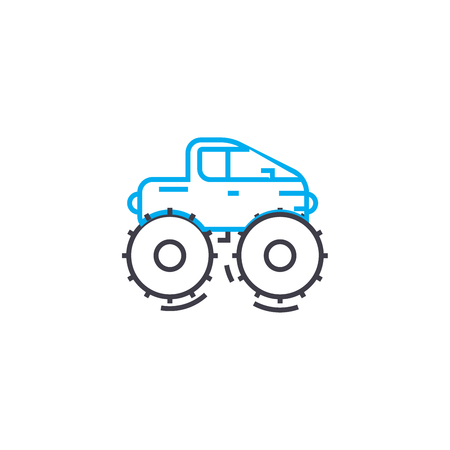 Cross country vehicle vector thin line stroke icon.