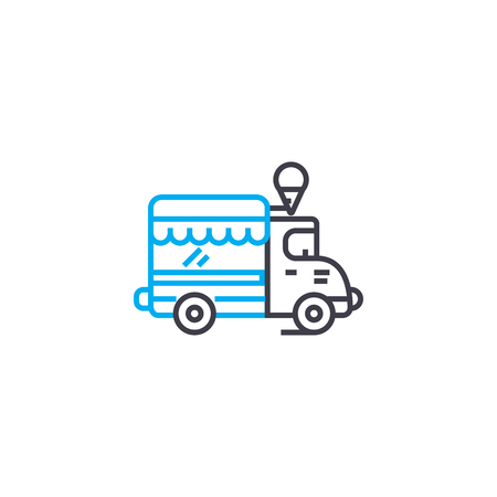 Commercial vehicle vector thin line stroke icon.