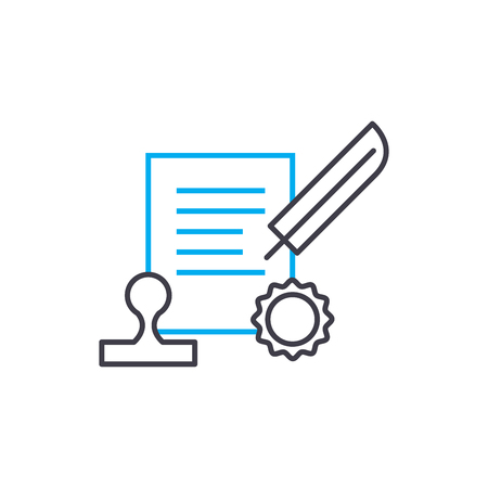 Conclusion of the contract vector thin line stroke icon. Иллюстрация