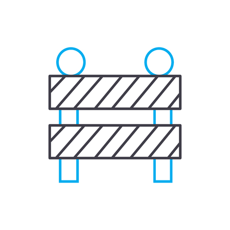 Construction fence vector thin line stroke icon.