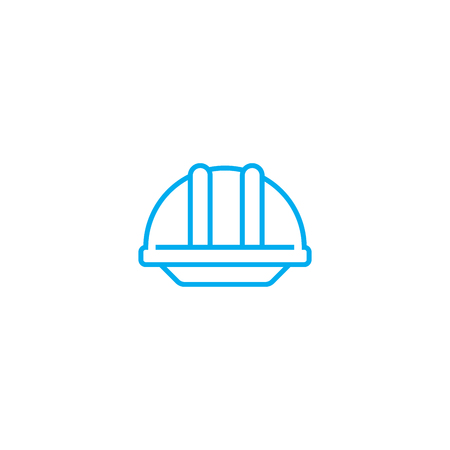 Construction helmet vector thin line stroke icon. 矢量图像