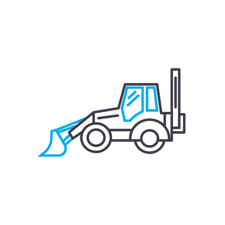 Construction machinery vector thin line stroke icon.