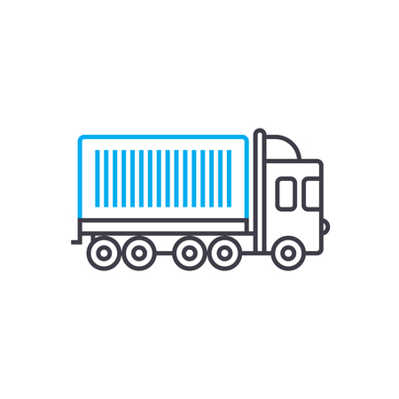 Container carriage vector thin line stroke icon. Container carriage outline illustration, linear sign, symbol isolated concept. Illusztráció