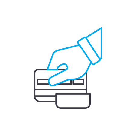 Credit card slipping vector thin line stroke icon. Credit card slipping outline illustration, linear sign, symbol isolated concept.