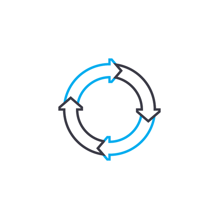 Cyclic model vector thin line stroke icon. Cyclic model outline illustration, linear sign, symbol isolated concept. Illustration