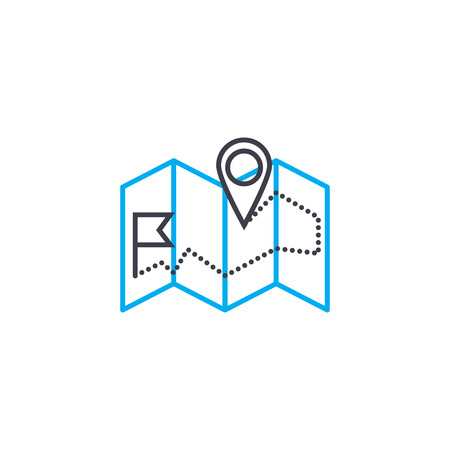 Delivery address vector thin line stroke icon. Delivery address outline illustration, linear sign, symbol isolated concept.