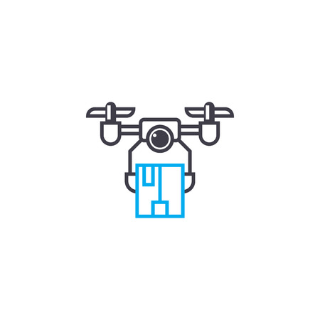 Delivery by drones vector thin line stroke icon. Delivery by drones outline illustration, linear sign, symbol isolated concept.
