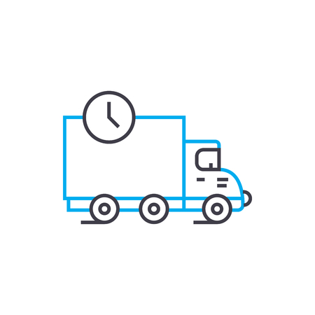 Delivery terms vector thin line stroke icon. Delivery terms outline illustration, linear sign, symbol isolated concept. 版權商用圖片 - 101247095