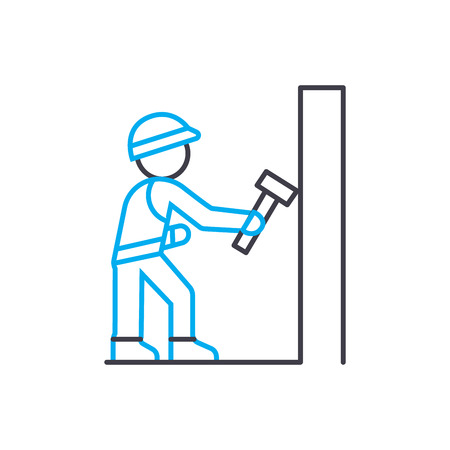 Demolition work vector thin line stroke icon. Demolition work outline illustration, linear sign, symbol isolated concept.