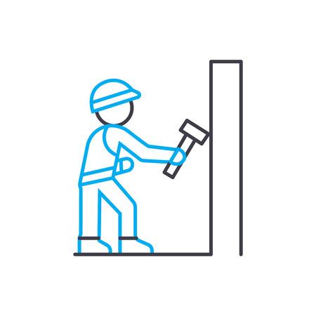 Icono de trazo de delgada línea de vector de trabajo de demolición. Ilustración de esquema de trabajo de demolición, signo lineal, concepto aislado de símbolo. Ilustración de vector