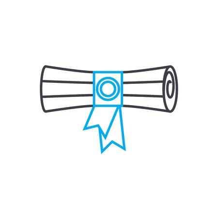 Diploma de educación superior vector icono de trazo de línea delgada. Diploma de ilustración de esquema de educación superior, signo lineal, concepto aislado de símbolo.