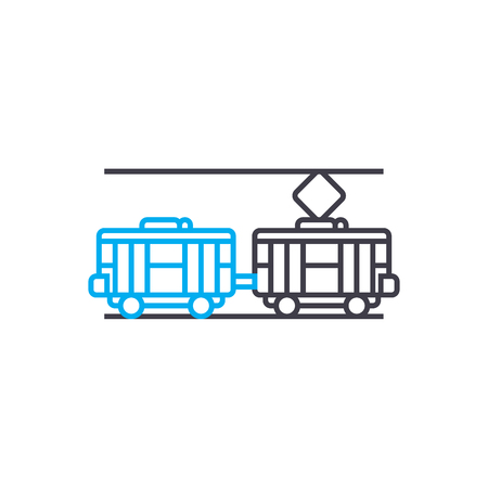 Electric traiin vector thin line stroke icon. Electric traiin outline illustration, linear sign, symbol isolated concept.  イラスト・ベクター素材