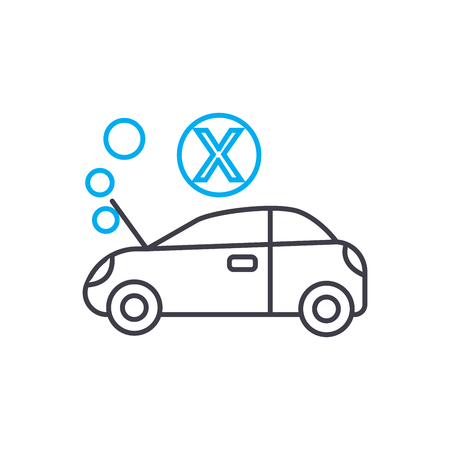 Engine overheating vector thin line stroke icon. Engine overheating outline illustration, linear sign, symbol isolated concept. Illustration