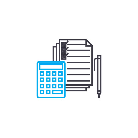 Expenditure clauses vector thin line stroke icon. Expenditure clauses outline illustration, linear sign, symbol isolated concept.
