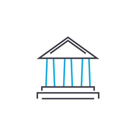 Financial institution vector thin line stroke icon. Financial institution outline illustration, linear sign, symbol isolated concept.