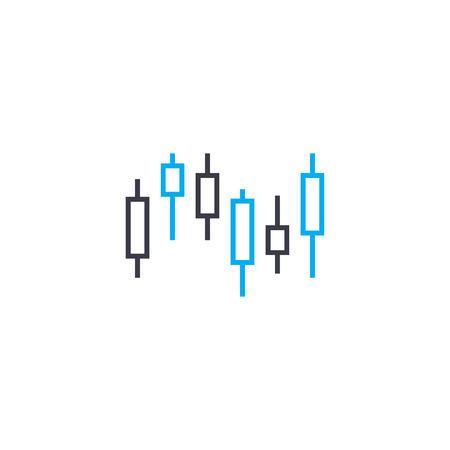 Financial market fluctuations vector thin line stroke icon. Financial market fluctuations outline illustration, linear sign, symbol isolated concept.
