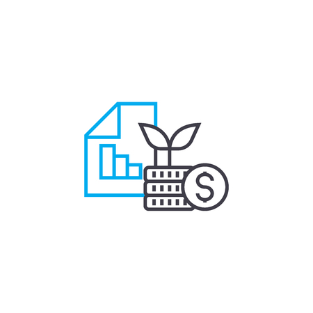 Financial results at startup vector thin line stroke icon. Financial results at startup outline illustration, linear sign, symbol isolated concept.
