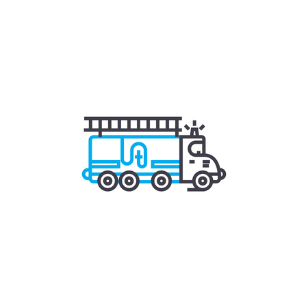 Fire engine vector thin line stroke icon. Fire engine outline illustration, linear sign, symbol isolated concept.