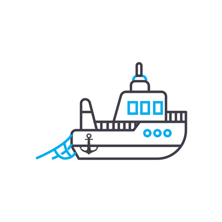 Fishing vessel vector thin line stroke icon. Fishing vessel outline illustration, linear sign, symbol isolated concept.