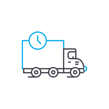 Freight transportation vector thin line stroke icon. Freight transportation outline illustration, linear sign, symbol isolated concept. Illustration