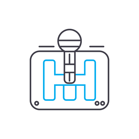 Gear box vector thin line stroke icon. Gear box outline illustration, linear sign, symbol isolated concept.