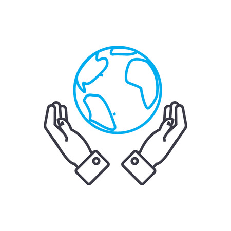 Global opportunities vector thin line stroke icon. Global opportunities outline illustration, linear sign, symbol isolated concept. Banque d'images - 101247179