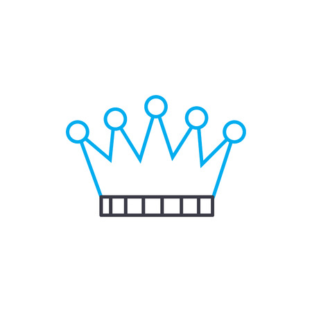 Gold crown vector thin line stroke icon. Gold crown outline illustration, linear sign, symbol isolated concept.