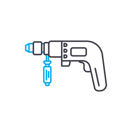 Hammer drill vector thin line stroke icon. Hammer drill outline illustration, linear sign, symbol isolated concept.