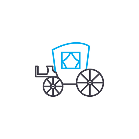 Horse Coach  vector thin line stroke icon. Horse Coach  outline illustration, linear sign, symbol isolated concept. Illustration