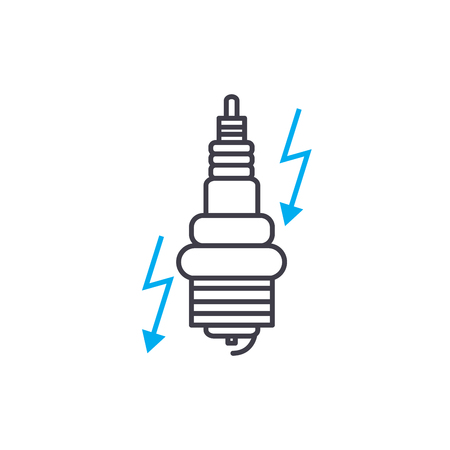 Ignition system vector thin line stroke icon. Ignition system outline illustration, linear sign, symbol isolated concept.