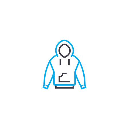 Jacket with a hood vector thin line stroke icon. Jacket with a hood outline illustration, linear sign, symbol isolated concept.