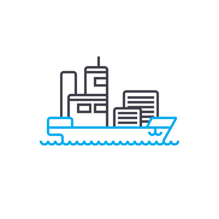 Maritime transport vector thin line stroke icon. Maritime transport outline illustration, linear sign, symbol isolated concept.