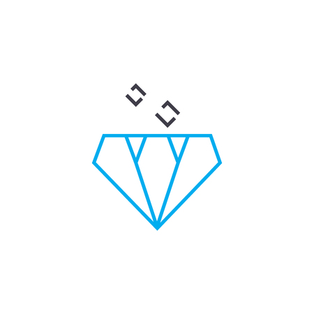 Market of precious stones vector thin line stroke icon. Market of precious stones outline illustration, linear sign, symbol isolated concept. Stock Illustratie