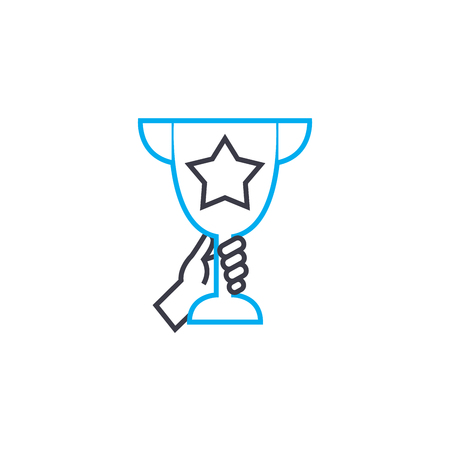 Handing in of prize vector thin line stroke icon. Handing in of prize outline illustration, linear sign, symbol isolated concept.